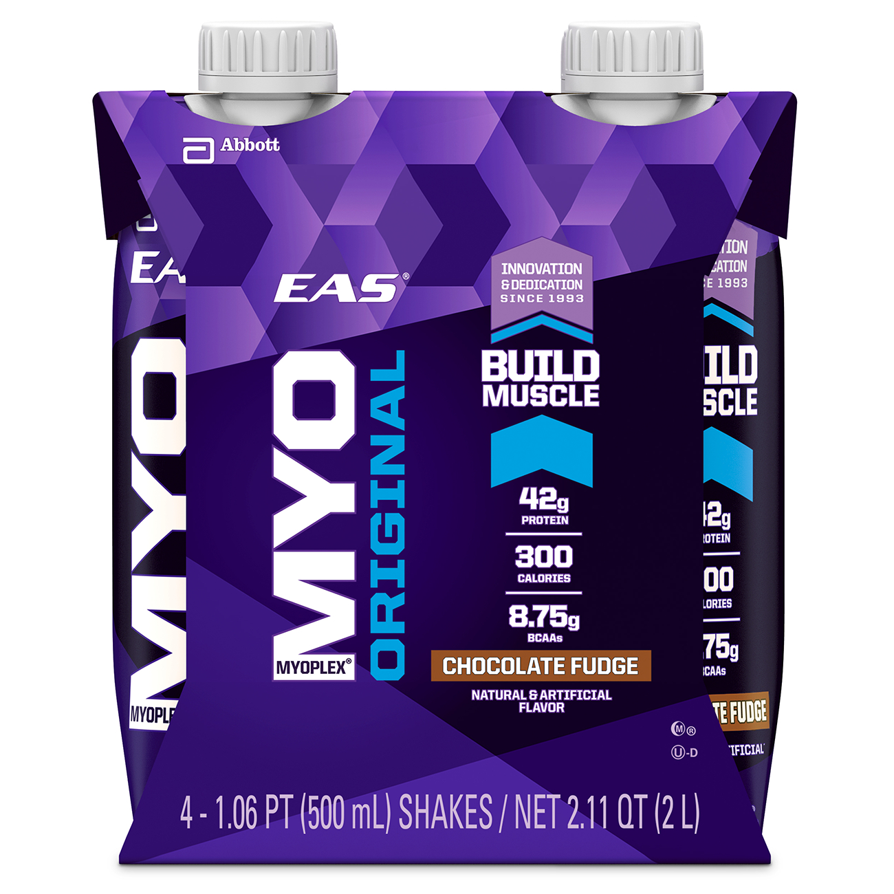 EAS Myoplex Original Ready-to-Drink Nutrition Shake, Chocolate Fudge, 500 mL (3-4 Packs) by Abbott Nutrition