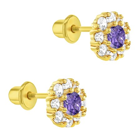 18k Yellow Gold Plated Purple Crystal Flower Screw Back Baby Girls Earrings 6mm - image 2 of 6