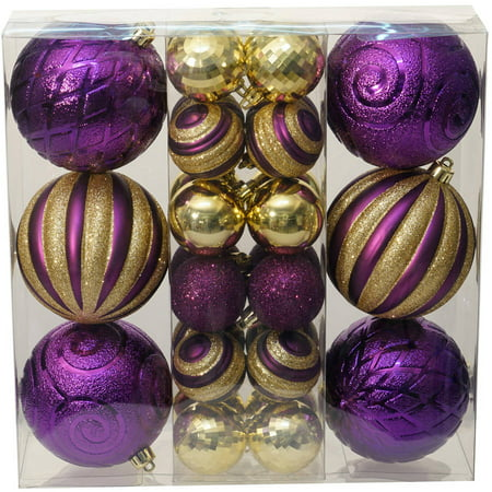 holiday time christmas ornaments traditional shatterproof set of 30 purple gold