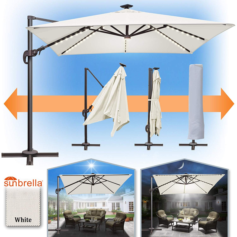 Sunrise 10' x 10' Deluxe Cantilever Big Roma Umbrella, Outdoor Hanging Offset Solar Umbrella, UV50+ with Tilt, Crank and 360 Degree Rotation, Heavyduty Sunshade, Sunbrella Cover (Heather Beige)