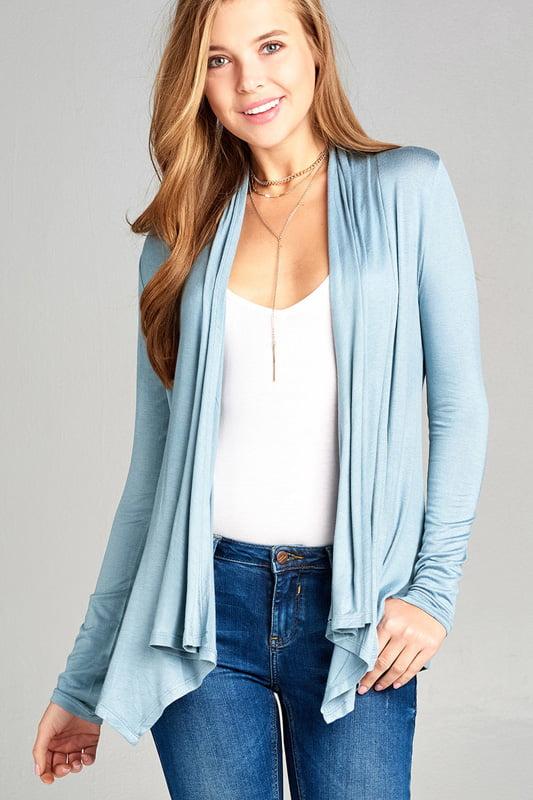 Women's Long Sleeve Open Drape Rayon Spandex Jersey Cardigan