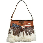 Angel Ranch Western Handbag Womens Shoulder Wooly Flag Brown HB662