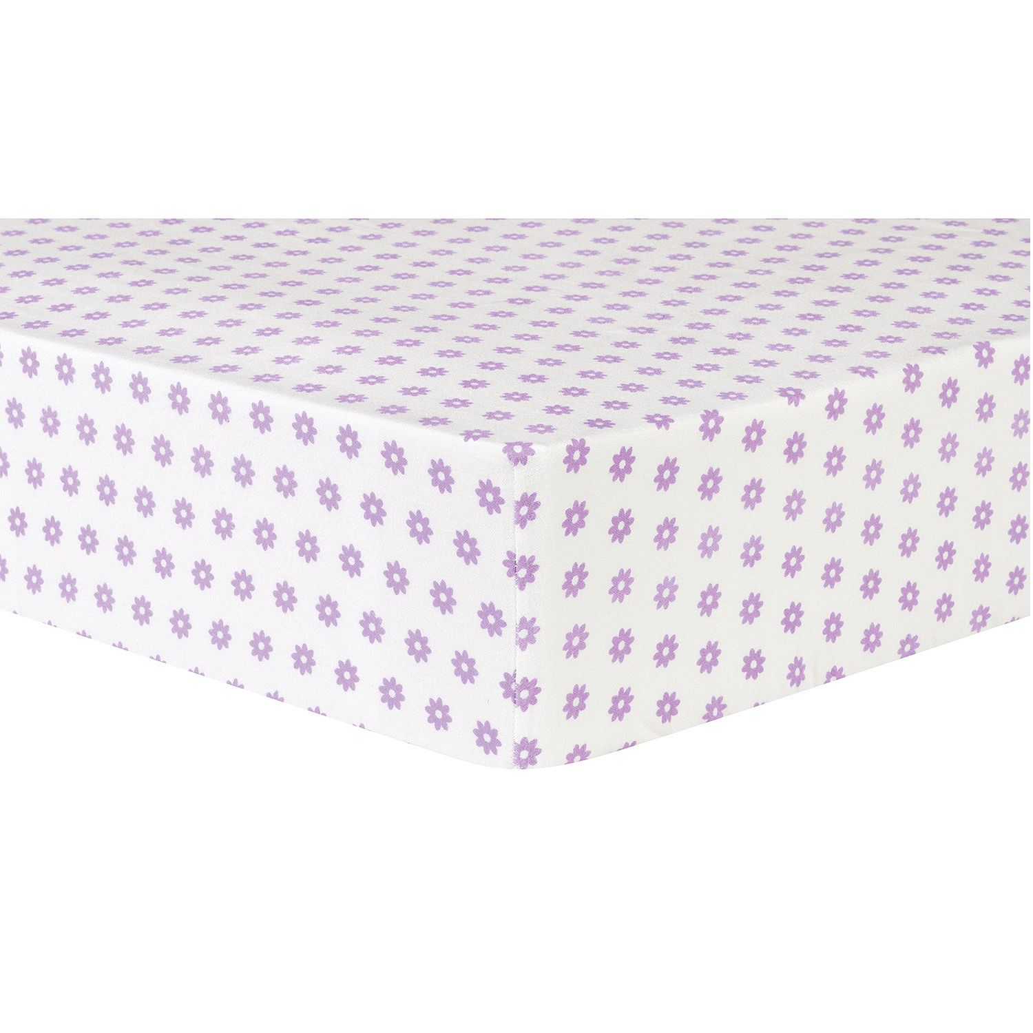 Trend Lab Deluxe Flannel Fitted Crib Sheet, Lilac Flower Dot