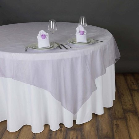 "90"" x 90"" Lavender Organza Table Square Overlay Set of 2"