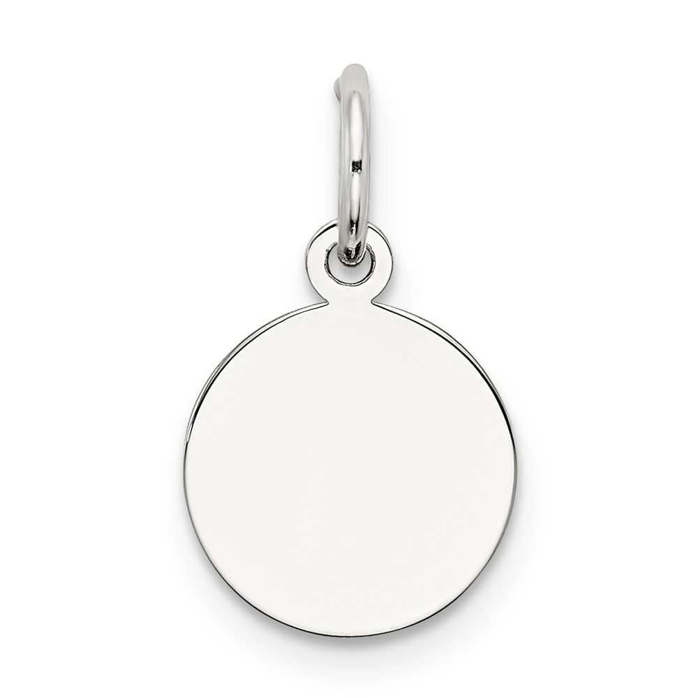 Sterling Silver Engravable Round Disc Charm (0.5in)