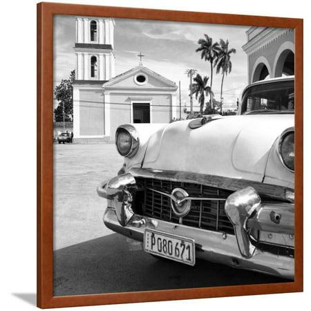 Classic Flame Santa - Cuba Fuerte Collection SQ BW - Classic Car in Santa Clara II Framed Print Wall Art By Philippe Hugonnard