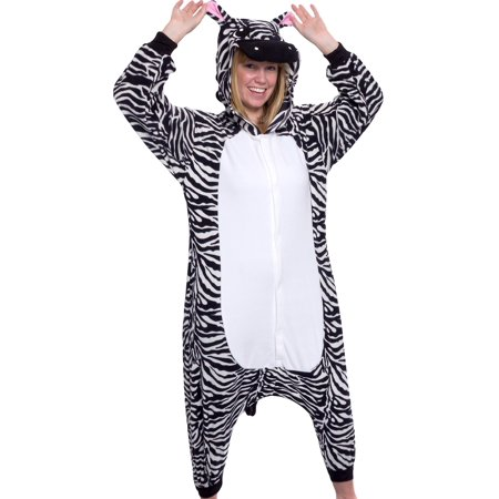 SILVER LILLY Unisex Adult Plush Animal Cosplay Costume Pajamas (Zebra) (Cheap Adult Animal Onesies)