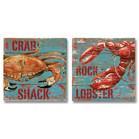 Vintage, Retro Old Fashioned Decor; Crab Shack and Rock Lobster Paper Signs; Two 12X12 Poster