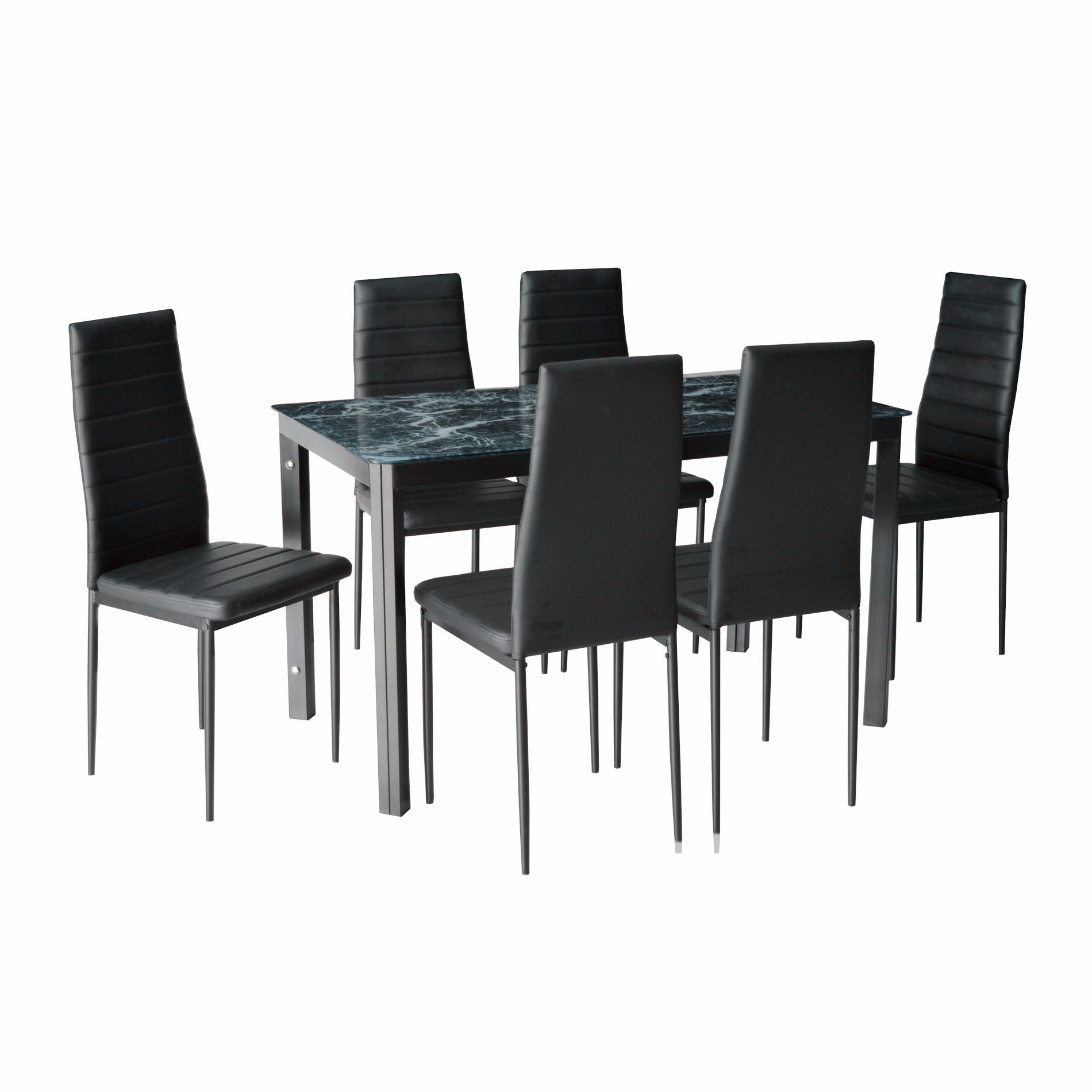 IDS Home 7 Piece Dining Set Faux Marble look Glass Metal Table and 6 Chairs Kitchen Room Furniture