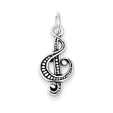 Sterling Silver Antiqued Music Note Charm