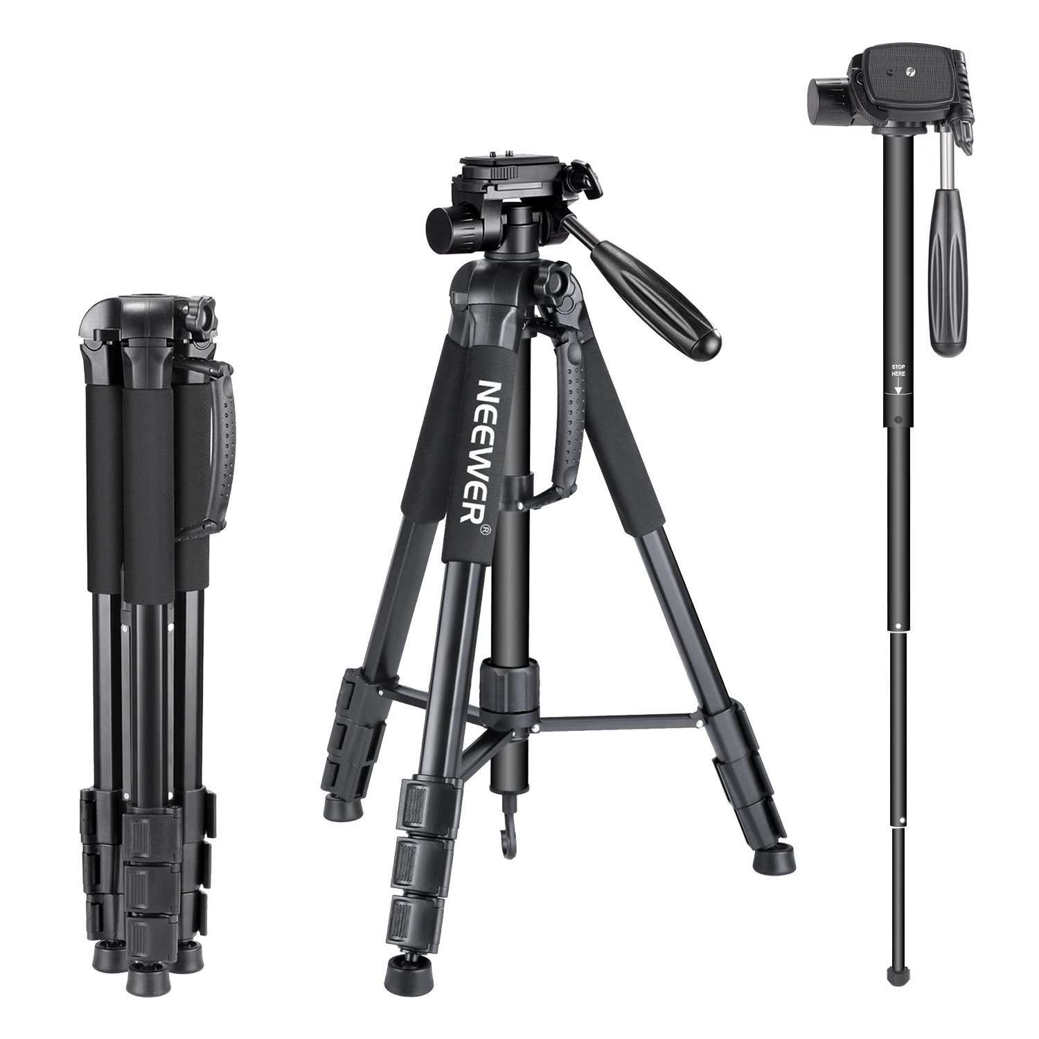 Finetoknow Camera Monopod Kit Telescopic Video Monopods Aluminum Alloy Stand for DSLR Video Cameras Camcorders