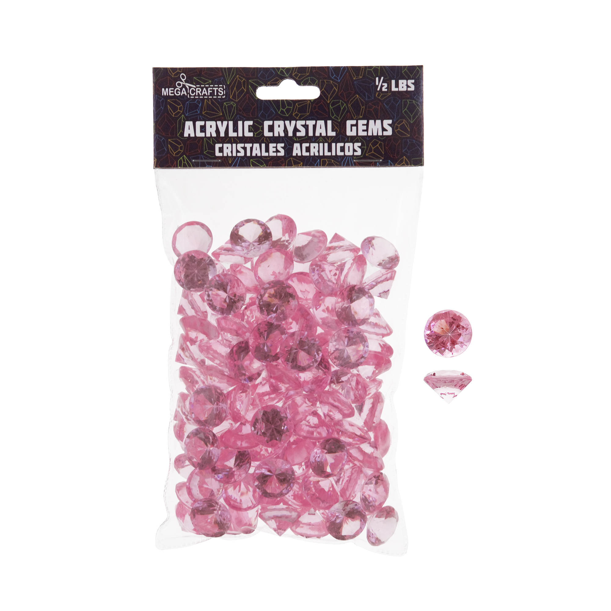 Mega Crafts - 1/2 lb Acrylic Small Diamonds Pink | Plastic Glass Gems For Arts And Crafts, Vase Fillers And Table Scatters, Decoration Stones, Shiny Pebbles