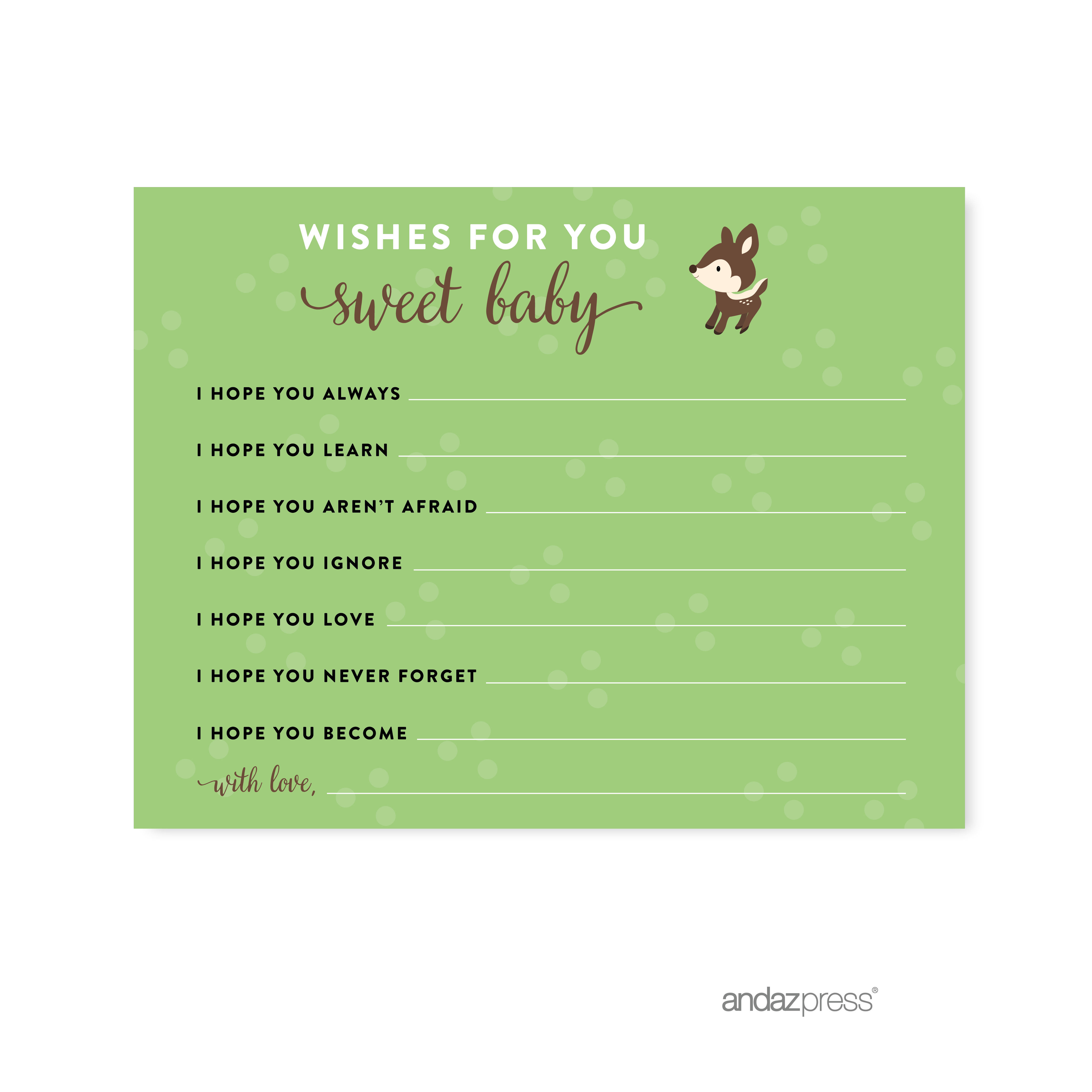 Wishes For Baby  Woodland Animals Deer Baby Shower Games , 20-Pack