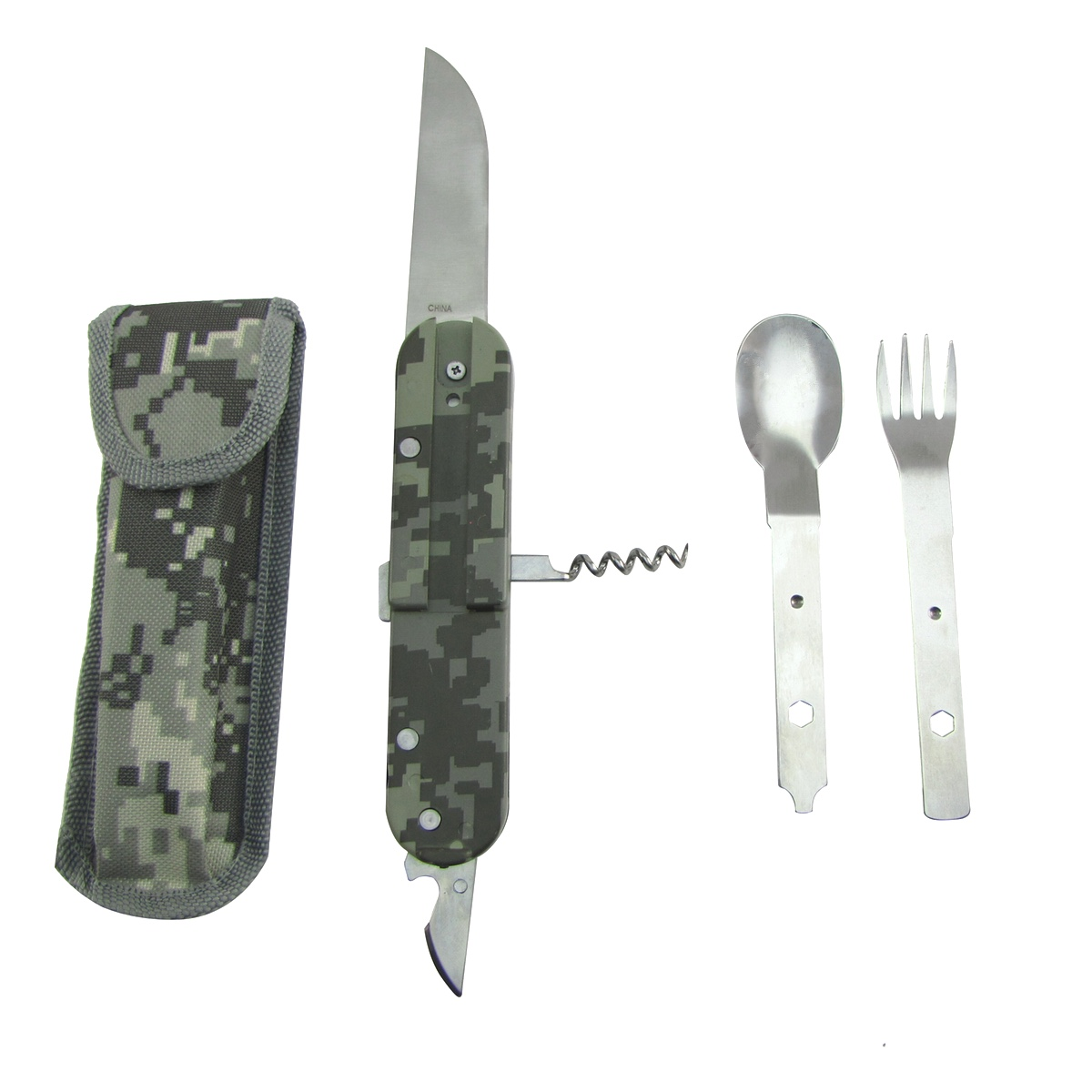 5 Multi Tool Hobo Camping Pocket Knife w Camp Spoon&Fork Emergency Survival Gear by