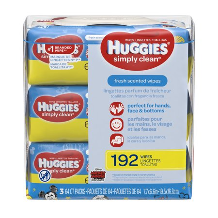 HUGGIES Simply Clean Baby Wipes, Alcohol-free, Hypoallergenic, 3 packs of 64, 192 Ct