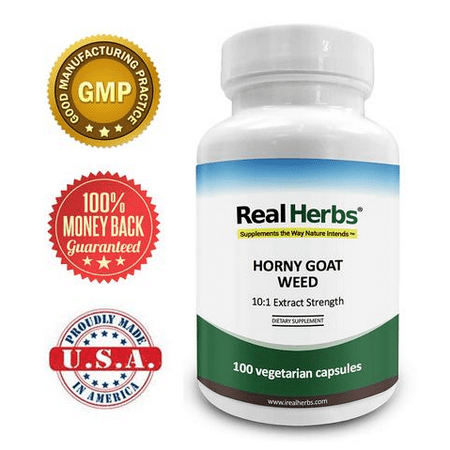 Real Herbs Horny Goat Weed (Epimedium Sagittatum) Extract - Derived from 7000mg of Horny Goat Weed for Men & Women with 10:1 Extract Strength - Epimedium Powder with Icariin in 50 Vegetarian