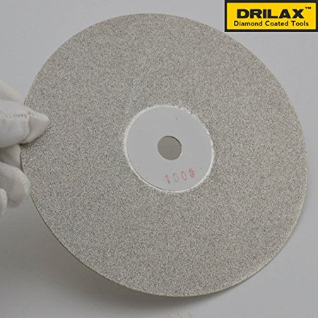 Drilax High Density Diamond Coated Wheel Disc 6 Inch Diameter GRIT 100 with Arbor Size 1/2 inch  Flat Lap Lapping Lapidary Glass - Jewelry - Polishing Tool Grinding Sharpening Metal Back Professional