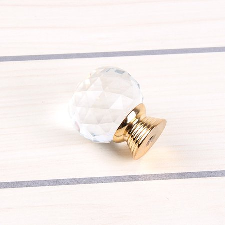 Simple Crystal Ball Door Knobs Zinc Alloy Golden Pull Handle for Cabinet Drawer Wardrobe Cupboard Kitchen Door - image 1 of 3