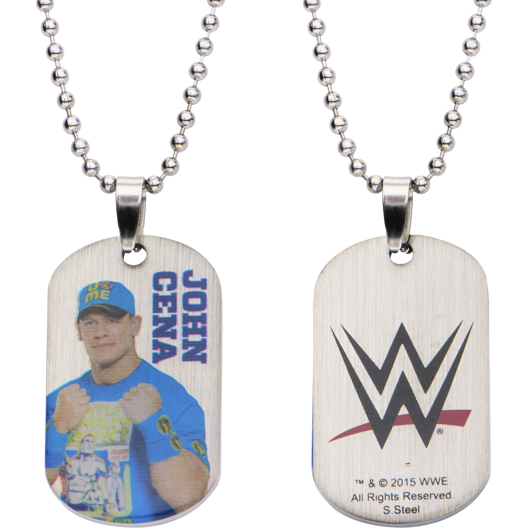 "WWE Kids' Stainless Steel John Cena Dog Tag Pendant, 16"" Chain"