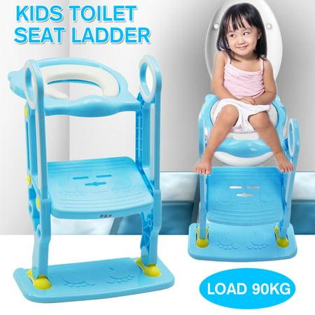 Anti Slip Potty Training Ladder Step Up Seat Toilet Contoured Cushion Training Step Stool for Kids Toddlers with Safe Antiskid Board Super Soft Toilet Cushion Foldable & Adjustable ()