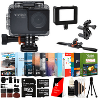 Vivitar DVR794HD 1080P Video Action Camera Camcorder with 120-degree View 5MP Shots and Bundle Black