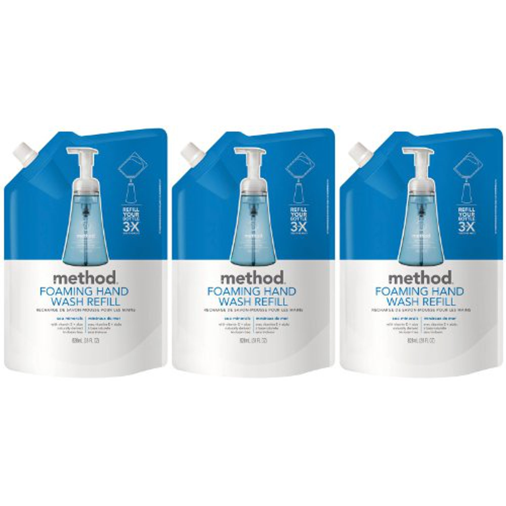 728f92d6017d Method Foaming Hand Wash Refill Pouch, Sea Minerals, 28oz, 3pk