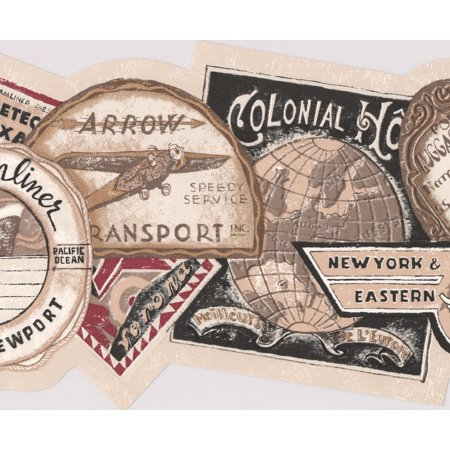 Vintage Ocean Air Rail Transport Ads from Around the World Beige Brown Black Wallpaper Border Retro Design, Roll 15' x 8'' - image 3 de 3