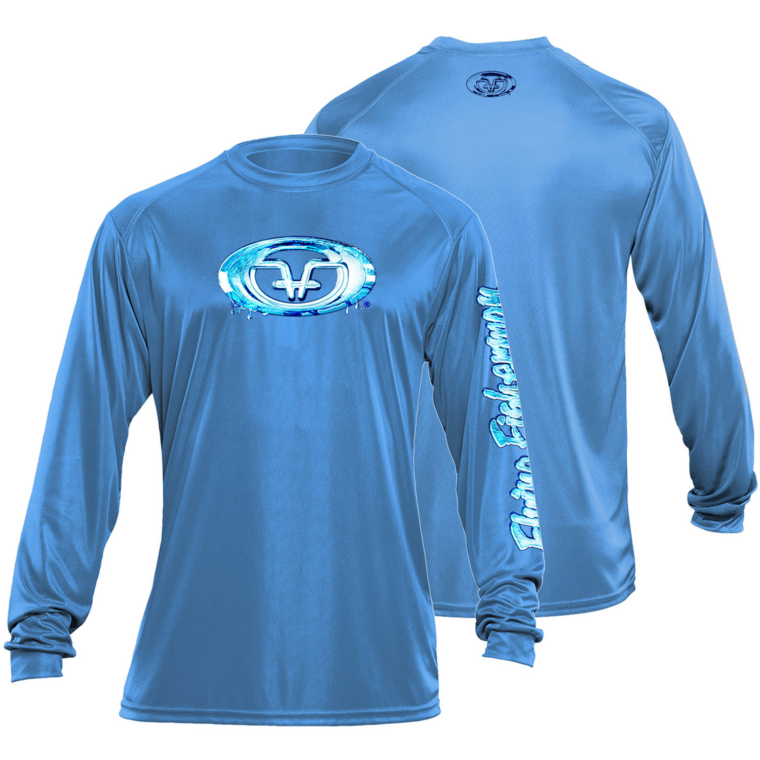 Flying Fisherman Water Logo Performance Tee, Carolina Blue, M by Flying Fisherman