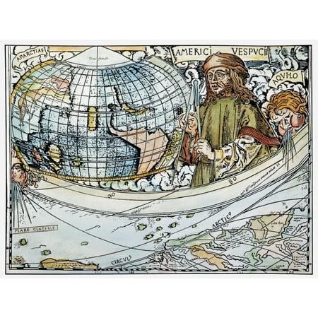 Amerigo Vespucci Map Of America.Amerigo Vespucci 1454 1512 Ndetail From Map Of The World And