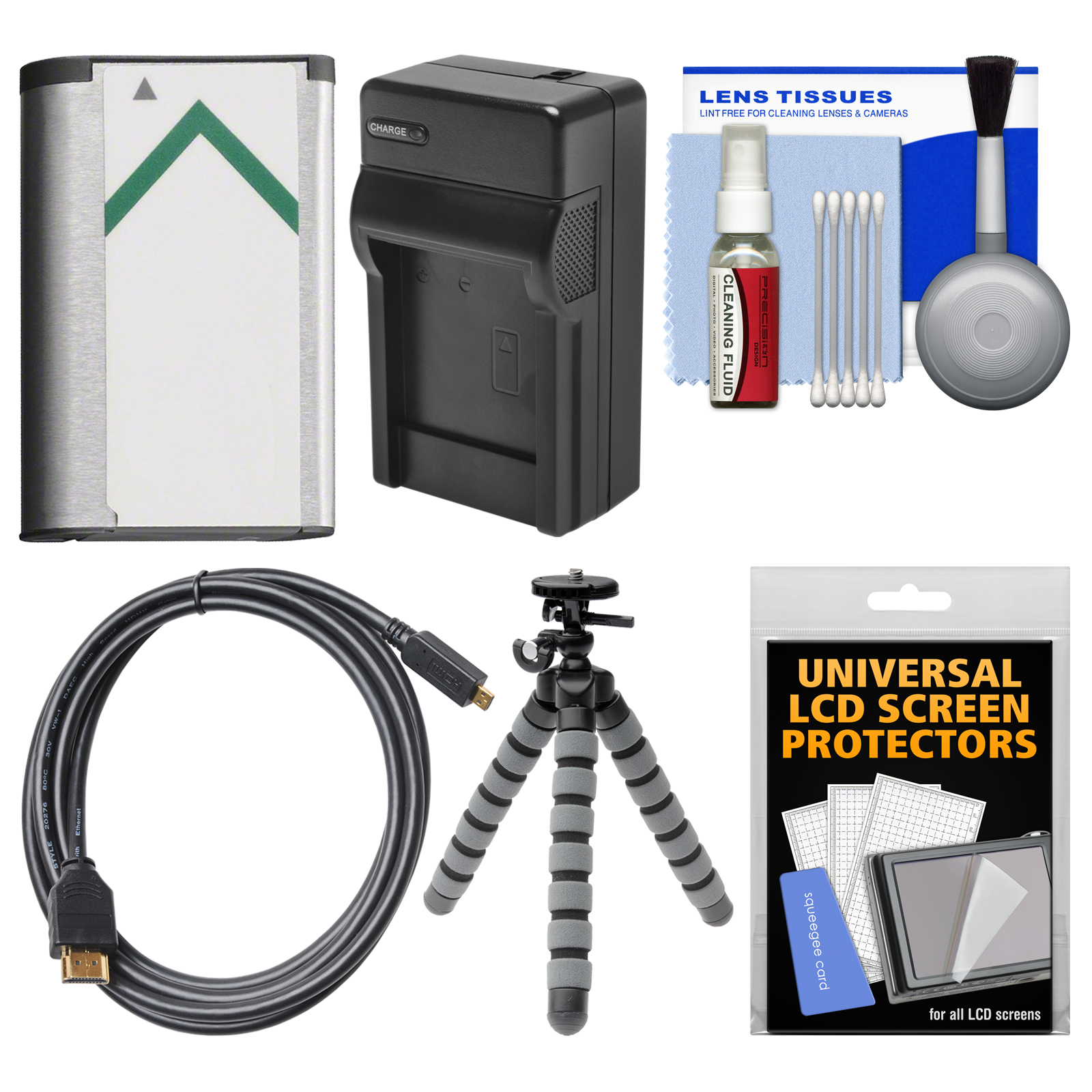 Essentials Bundle for Sony Cyber-Shot DSC-RX100 II III IV Digital Cameras with NP-BX1 Battery & Charger + Flex Tripod + HDMI Cable + Accessory Kit
