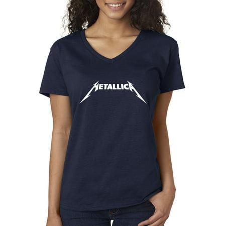 New Way 925 - Women's V-Neck T-Shirt Metallica Metal Rock Band Logo Large (Best Rock Band Logos)