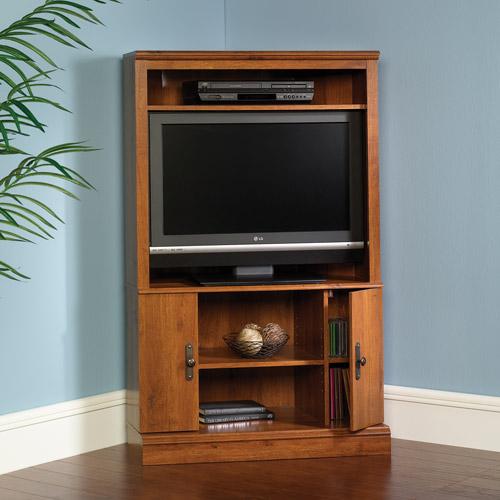 """Sauder Harvest Mill Corner Entertainment Center for TVs up to 32"""", Abbey Oak"""