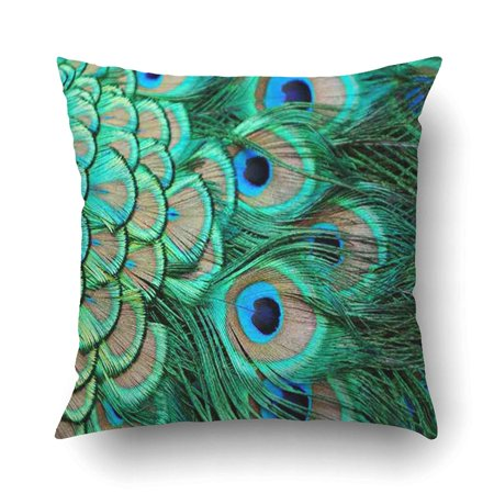 WOPOP Fantasy cobalt emerald Peacock Feather Pillowcase Pillow Cushion Cover 18x18 (Emerald Peacock)