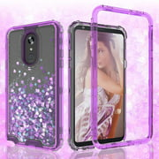 LG Stylo 5 Case, LG Stylo 5 Plus Case, Clear Glitter Sparkle Waterfall Liquid Shockproof Protective Bling Hard Cases for LG Stylo 5/LG Stylo 5 Plus - Purple
