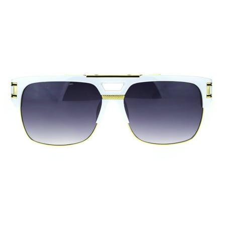 Mens Flat Top Mobster Mafia Half Rim OG Sunglasses White (Flat Top Boyfriend Sunglasses)