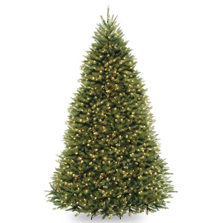 National Tree Pre-Lit 10' Dunhill Fir Hinged Artificial Christmas Tree with 1200 Low Voltage Dual LED Lights with 9 Function Footswitch