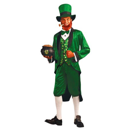 Mens Greek Halloween Costumes (Green and Black Mr Leprechaun Men Adult Halloween Costume -)