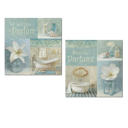 Blue Fabric Poster (Lovely Teal and Light Blue French Clawfoot Bathtub and Floral Set by Danhui Nai; Bathroom Decor; Two 12x12in Unframed Paper)