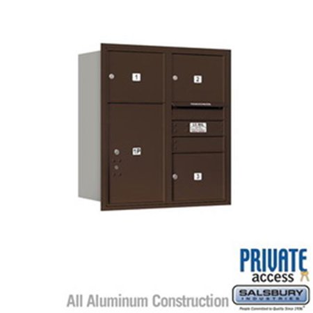 Salsbury Industries 3704S-1PAFU 4 Door High Unit 16.5 in. Single Column 4C Horizontal Mailbox with Front Loading USPS 1 PL4 - Stand Alone Parcel Locker, Aluminum