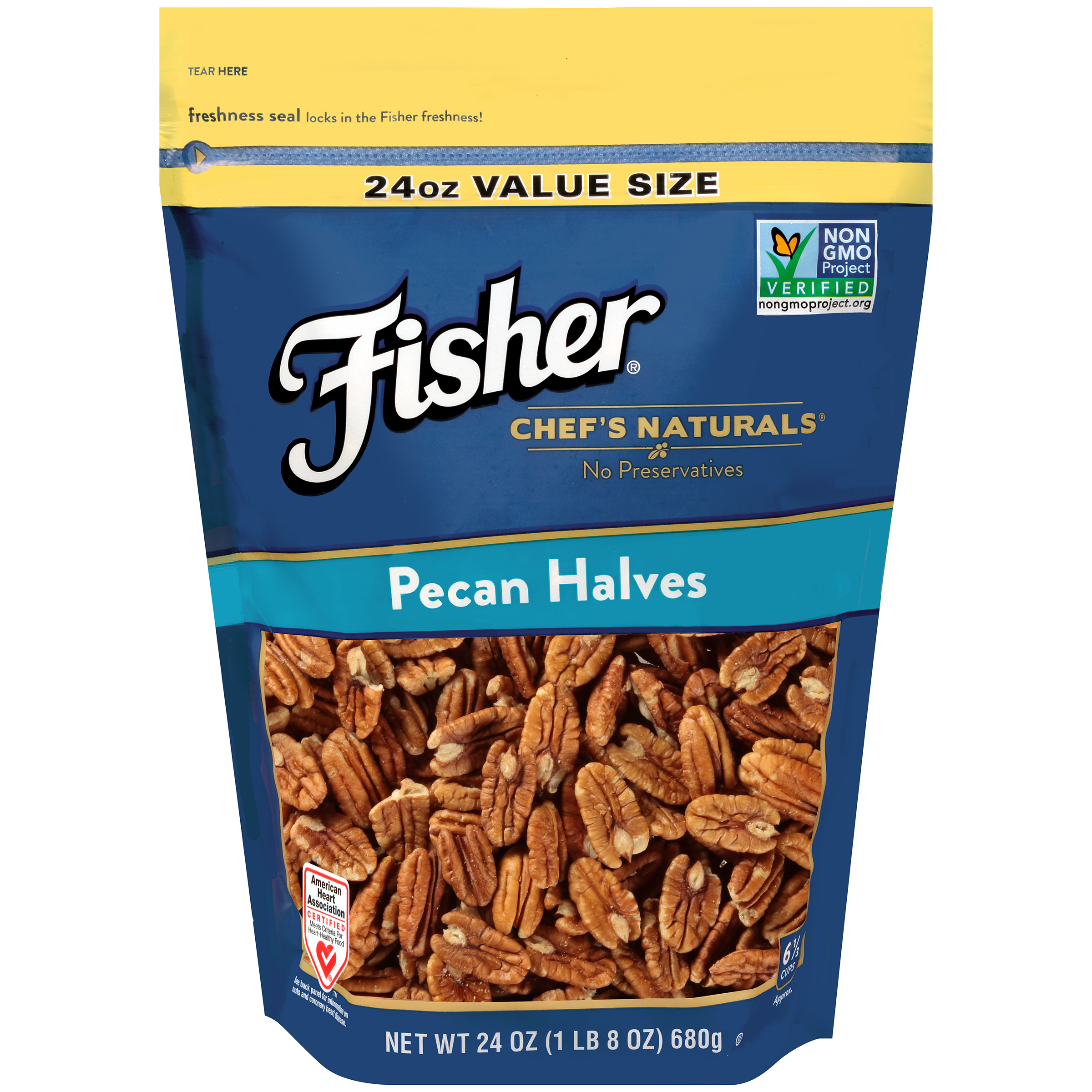 (2 Pack) Fisher Chef's Naturals Pecan Halves, Non-GMO, 24 oz