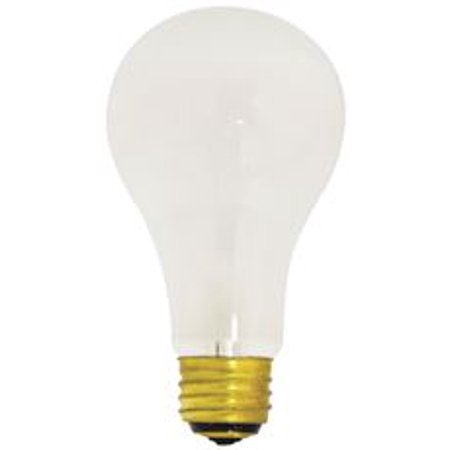 Satco Incandescent Lamp A21, 50/100/150 Watt, 120 Volt, Medium Base, White, 2,500 Average Rated Hours, 12 Per -