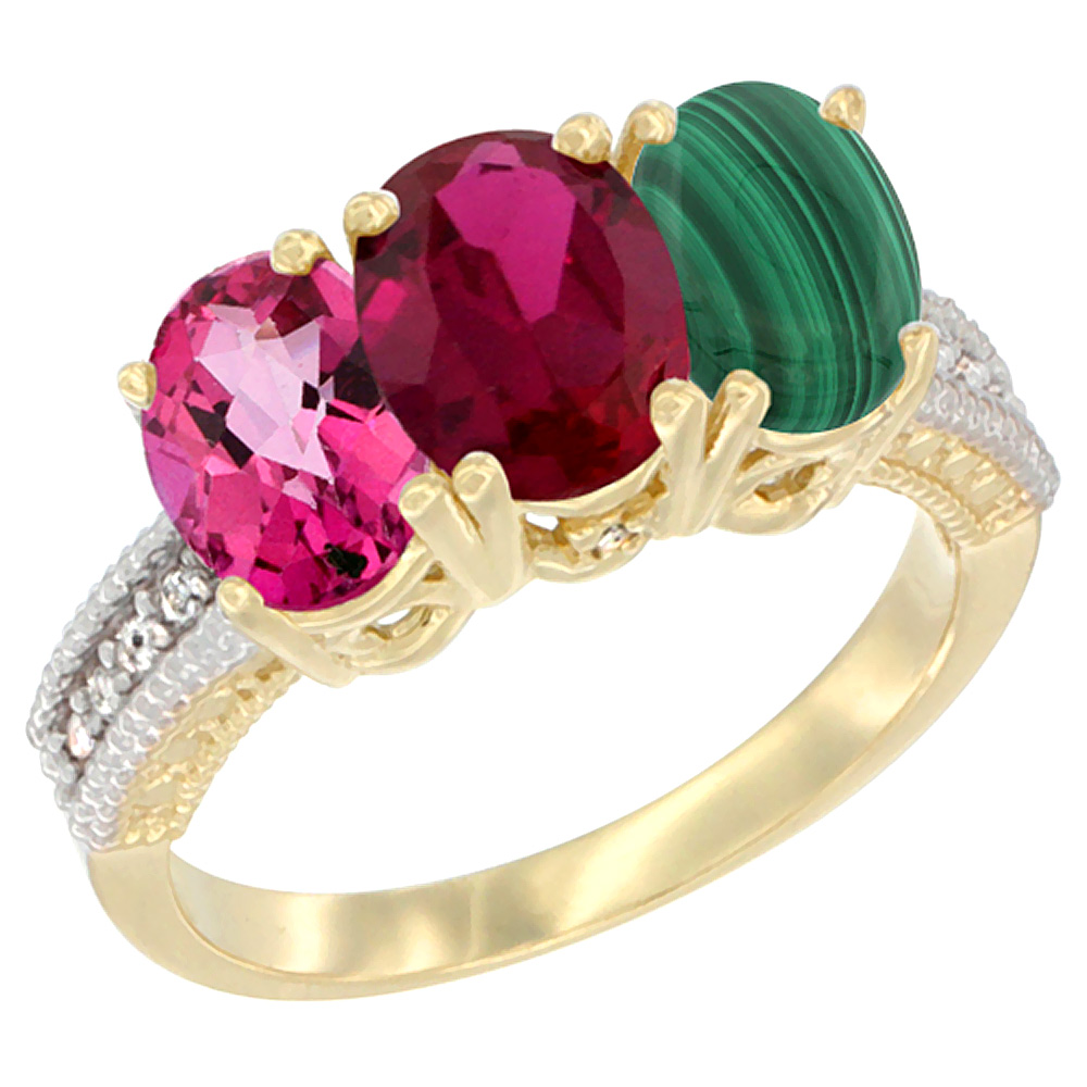10K Yellow Gold Diamond Natural Pink Topaz, Enhanced Ruby & Malachite Ring 3-Stone 7x5 mm Oval, sizes 5 10 by WorldJewels