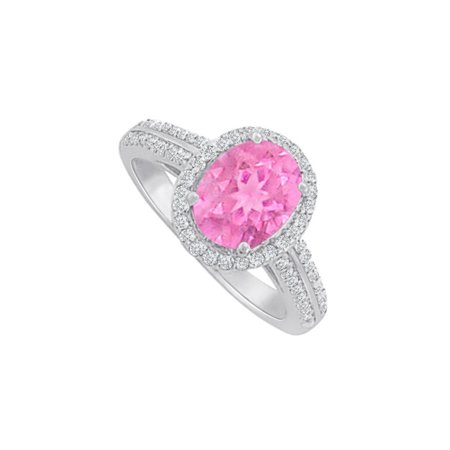 Chic Pink Sapphire CZ Halo Ring in 925 Sterling Silver - image 2 de 2