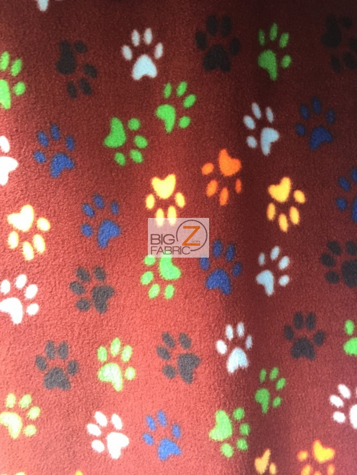 """Polar Fleece Printed Fabric PAW PRINT 58/"""" Wide Sold By The Yard"""