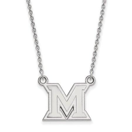 Sterling Silver Logoart Official Licensed Collegiate 18In Miami University  Mu  Small Pendant W Necklace