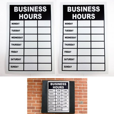 2 Business Hours Sign Monday Thru Friday Store Office Window Shop Write In Times - Modells Store Hours