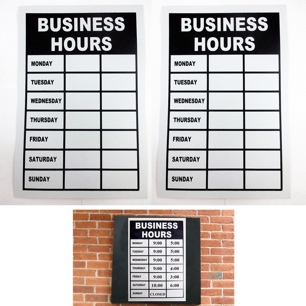 2 Business Hours Sign Monday Thru Friday Store Office Window Shop Write In Times