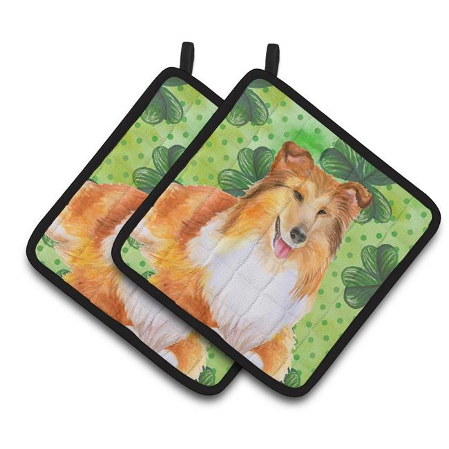 Carolines Treasures BB9894PTHD Sheltie St.Patricks Pair of Pot Holders - image 1 de 1