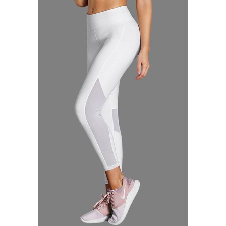 b2d95a86594237 White High-Rise Mesh Patchwork Gym Sport Yoga Leggings - image 3 of 3 ...