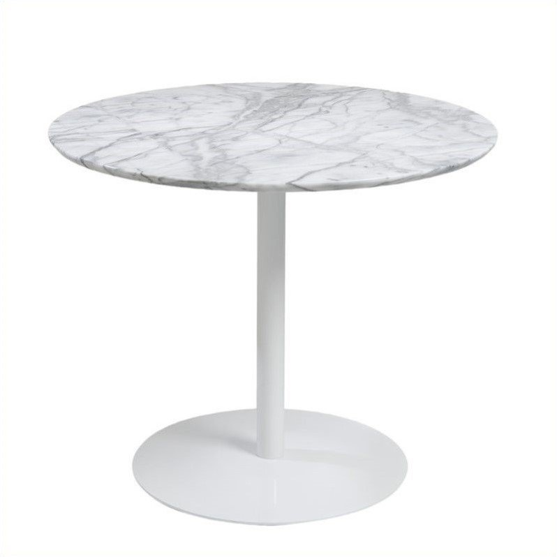 Eurostyle Tammy Round Dining Table in Marble and White by Eurostyle